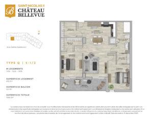 Château Bellevue Saint-Nicolas 2 – résidence pour aînés – plan logement 4½ Q