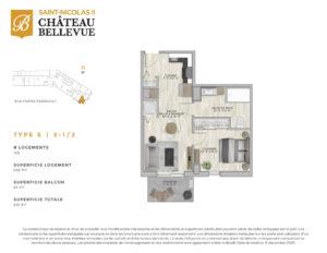 Château Bellevue Saint-Nicolas 2 – résidence pour aînés – plan logement 3½ S