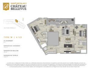 Château Bellevue Saint-Nicolas 2 – résidence pour aînés – plan logement 4½ W