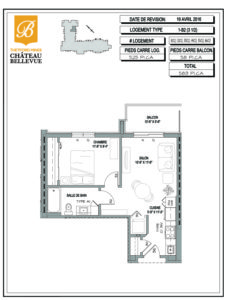 Château Bellevue Thetford Mines – résidence pour aînés – plan logement 3½ 1B2