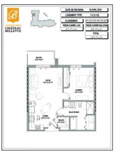 Château Bellevue Thetford Mines – résidence pour aînés – plan logement 3½ 1C