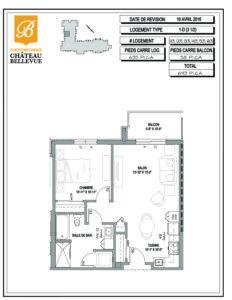 Château Bellevue Thetford Mines – résidence pour aînés – plan logement 3½ 1D