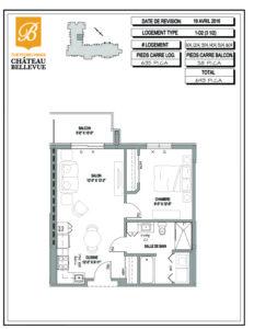 Château Bellevue Thetford Mines – résidence pour aînés – plan logement 3½ 1D2