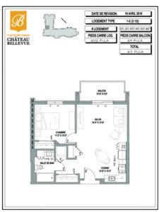 Château Bellevue Thetford Mines – résidence pour aînés – plan logement 3½ 1E