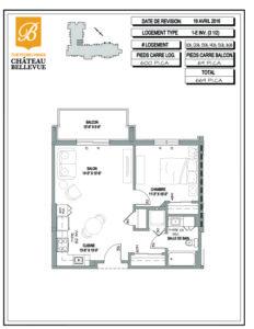 Château Bellevue Thetford Mines – résidence pour aînés – plan logement 3½ 1E inv