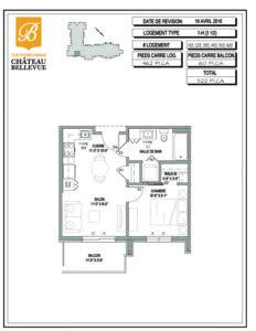 Château Bellevue Thetford Mines – résidence pour aînés – plan logement 3½ 1H