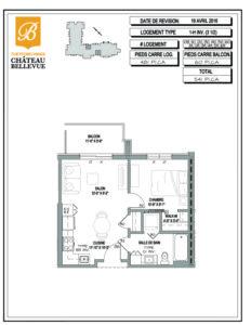 Château Bellevue Thetford Mines – résidence pour aînés – plan logement 3½ 1H inv