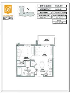 Château Bellevue Thetford Mines – résidence pour aînés – plan logement 3½ 1H2