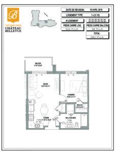 Château Bellevue Thetford Mines – résidence pour aînés – plan logement 3½ 1J