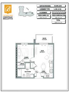 Château Bellevue Thetford Mines – résidence pour aînés – plan logement 3½ 1J inv