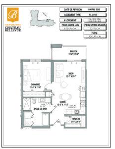 Château Bellevue Thetford Mines – résidence pour aînés – plan logement 3½ 1L