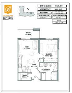 Château Bellevue Thetford Mines – résidence pour aînés – plan logement 3½ 1L inv