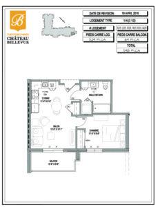 Château Bellevue Thetford Mines – résidence pour aînés – plan logement 4½ 1N