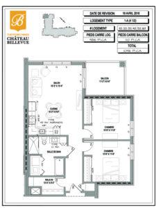 Château Bellevue Thetford Mines – résidence pour aînés – plan logement 4½ 1A
