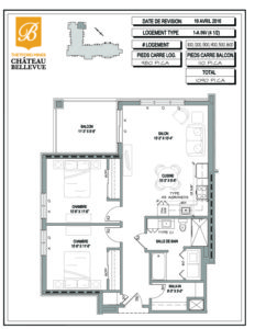 Château Bellevue Thetford Mines – résidence pour aînés – plan logement 4½ 1A inv