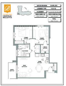 Château Bellevue Thetford Mines – résidence pour aînés – plan logement 4½ 1G