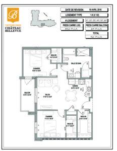 Château Bellevue Thetford Mines – résidence pour aînés – plan logement 4½ 1K