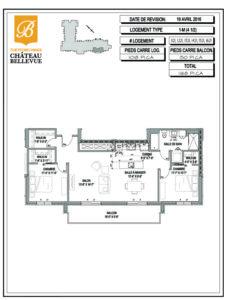 Château Bellevue Thetford Mines – résidence pour aînés – plan logement 4½ 1M