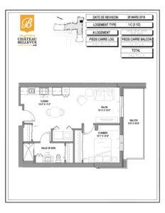 Château Bellevue Valleyfield – résidence pour aînés – plan logement 3½ 1-C