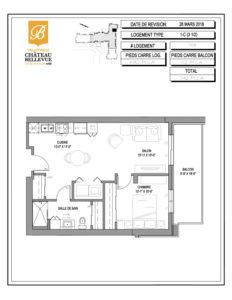 Château Bellevue Valleyfield – résidence pour aînés – plan logement 3½ 1-C 7e