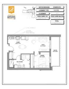 Château Bellevue Valleyfield – résidence pour aînés – plan logement 3½ 1-C 8e