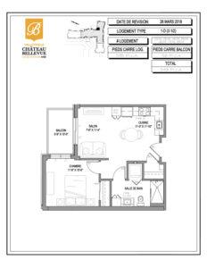 Château Bellevue Valleyfield – résidence pour aînés – plan logement 3½ 1-D
