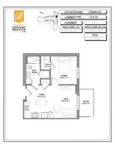 Château Bellevue Valleyfield – résidence pour aînés – plan logement 3½ 1-E 8e
