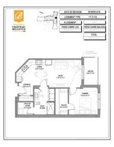 Château Bellevue Valleyfield – résidence pour aînés – plan logement 3½ 1-F 6e