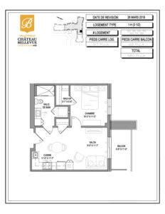 Château Bellevue Valleyfield – résidence pour aînés – plan logement 3½ 1-H
