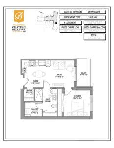 Château Bellevue Valleyfield – résidence pour aînés – plan logement 3½ 1-J