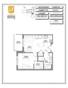 Château Bellevue Valleyfield – résidence pour aînés – plan logement 3½ 1-K