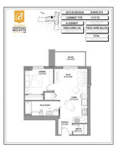 Château Bellevue Valleyfield – résidence pour aînés – plan logement 3½ 1-N