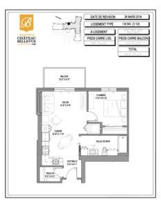 Château Bellevue Valleyfield – résidence pour aînés – plan logement 3½ 1-N INV