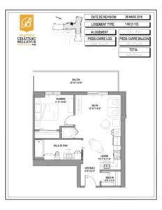 Château Bellevue Valleyfield – résidence pour aînés – plan logement 3½ 1-N2
