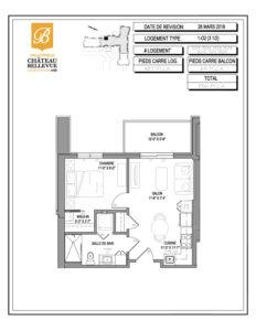Château Bellevue Valleyfield – résidence pour aînés – plan logement 3½ 1-O2
