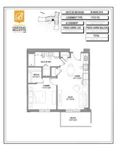 Château Bellevue Valleyfield – résidence pour aînés – plan logement 3½ 1-R