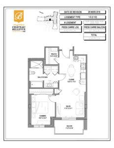 Château Bellevue Valleyfield – résidence pour aînés – plan logement 3½ 1-S