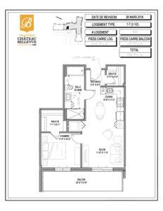 Château Bellevue Valleyfield – résidence pour aînés – plan logement 3½ 1-T 8e