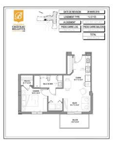 Château Bellevue Valleyfield – résidence pour aînés – plan logement 3½ 1-U