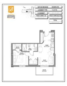 Château Bellevue Valleyfield – résidence pour aînés – plan logement 3½ 1-U 5e, 7e, 8e