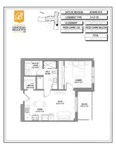 Château Bellevue Valleyfield – résidence pour aînés – plan logement 3½ 2-A