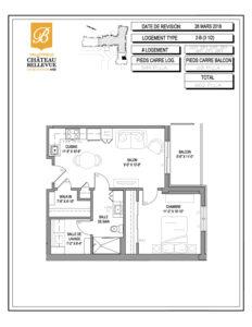 Château Bellevue Valleyfield – résidence pour aînés – plan logement 3½ 2-B