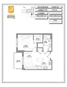 Château Bellevue Valleyfield – résidence pour aînés – plan logement 3½ 2-F