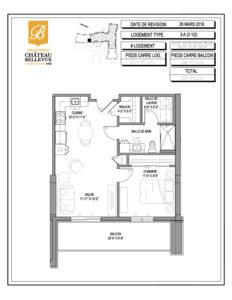 Château Bellevue Valleyfield – résidence pour aînés – plan logement 3½ 3-A