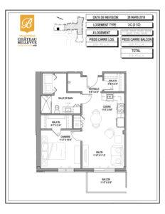 Château Bellevue Valleyfield – résidence pour aînés – plan logement 3½ 3-C