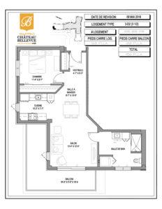 Château Bellevue Valleyfield – résidence pour aînés – plan logement 3½ 3-D2