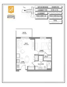 Château Bellevue Valleyfield – résidence pour aînés – plan logement 3½ 3-E INV