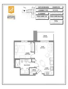 Château Bellevue Valleyfield – résidence pour aînés – plan logement 3½ 3-F