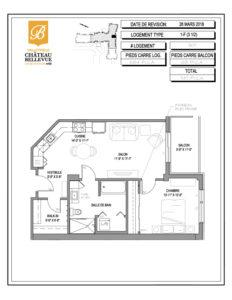 Château Bellevue Valleyfield – résidence pour aînés – plan logement 3½ 1-F