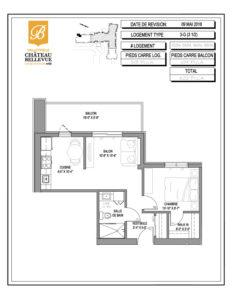 Château Bellevue Valleyfield – résidence pour aînés – plan logement 3½ 3-G